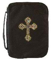 Bible Cover Black  Large Gold Studded Cross