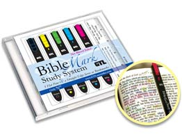 New! Bible Marker Study System. 5 colored very Thin Flat light weight marking Pens and Straight Edge with Case.