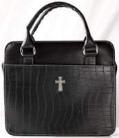 Black Croc Embossed Purse Bible Cover