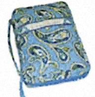 Quilted Blue bible covers Paisley, Blue with saying Faith, Hope Love embroidered on front.