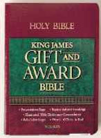 KJV Gift & Award Bible-Black Imitation Leather, softcover. 5 1/2 x 7 1/2 x1. 7 point type. Red letter. Burgandy available.