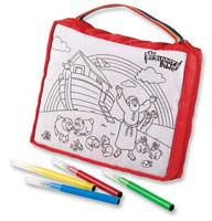 Beginner's Washable Bible cover for kids to color and draw on. Wash it and reuse it! Noah's Ark scene w/4 washable markers.