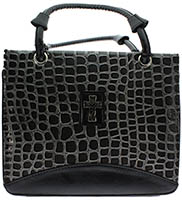 Large Black Croc Bible Purse
