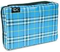 Large Plaid Blue Bible Cover