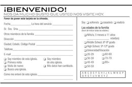 Bilingual Welcome Guest Pew Card (Pkg of 50)