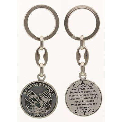 USA Armed Forces Pewter Keychain