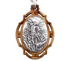 Saint Michael Olive Wood Keychain