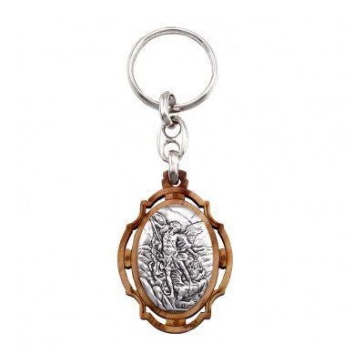 Saint Michael Olive Wood Keychain