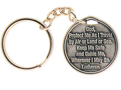 Lutheran Rose Key Chain Silver Pewter