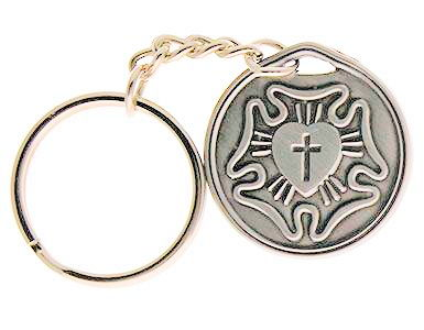Lutheran Rose Silver Key Chain & Prrayer