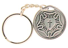 Lutheran Rose Silver Key Chain & Prayer