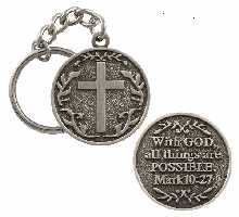 With God All Things Are Possible Key Chain 1 1/2 pewter metal
