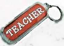 Teacher Lucite KeyChain. 3 Long plus ring Teacher Key Chain. Apples and glitter on back side