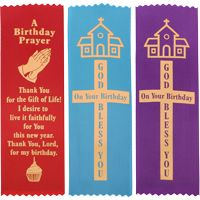 Happy Birthday, God Bless you on Your birthday, birthday imprinted prayer satin bookmarks.2 x 8 inches.Can be pined on clothing