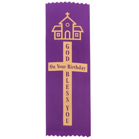 Purple God Bless You On Your Birthday Ribbon