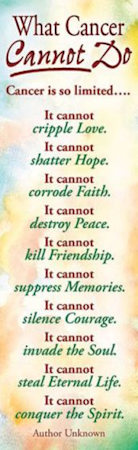 What Cancer Cannot Do Bookmarks (Pkg of 25)