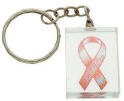 Breast Cancer Lucite Key Chain. Ribbon Lucite Key Chain - 1 1/4 x 1 block keychain