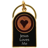 Jesus Lives Me KeyChain. Jesus Loves Me with heart Gold Pewter style Key Chain. 2 1/2 x 2 plus ring.