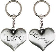 Love Never FailsSilver Heart Keychain