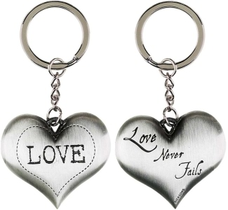 Love Never Fails Silver Heart Keychain