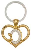 Gods Heart Key Chain w Stones Gold & Silver
