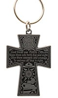 Police Officer Prayer Cross Keychain