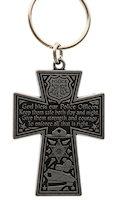 Police Officer Prayer Cross Keychain