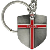 Faith Shield Cross Key Chain, Ephesians 6:16 Quote