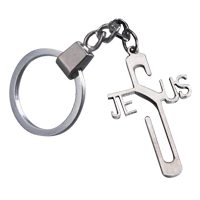 Jesus Cross Key Chain Stainless Steel