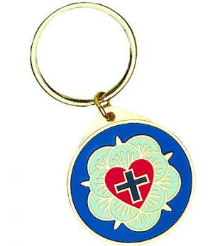 Lutheran Rose Key Chain Gold, Colorful