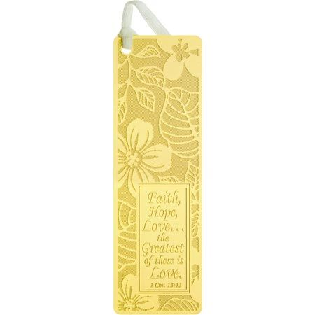 Faith Hope Love Gold Metal Bookmark