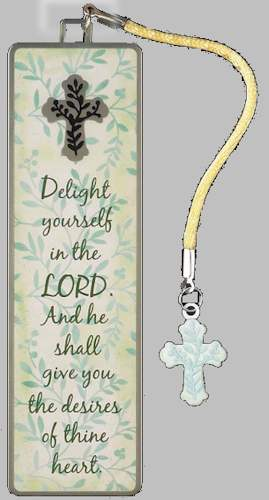 Delight in the Lord Metal Cross Bookmark