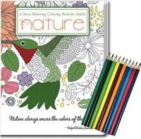 Nature - Adult Coloring Book  & Pencil Set