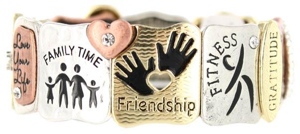 Friendship Blessing Stretch Bracelet Silver Gold