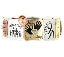 Friendship Blessing Stretch Bracelet Silver