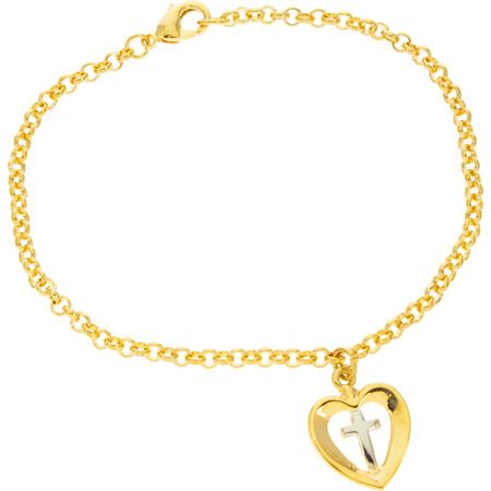 Heart With Cross Chain Bracelet Gold