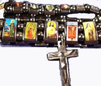 Hematite Religious Picture Stretch Bracelets (Set of 2)