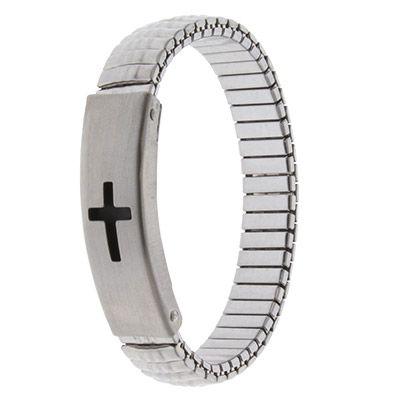 Silver Watch style Stretch Cross Bracelet