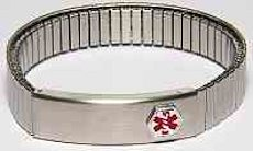 Silver Watch style Stretch Medical Bracelet