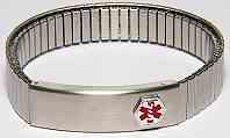Silver Watch style Stretch Medical Bracelet
