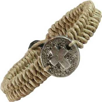Cross Coin Woven Bracelet Pewter