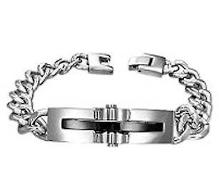 Deluxe Stainless Steel Black Onyx  Bracelet