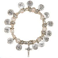 Stations of The Cross Silver Charm Bracelet