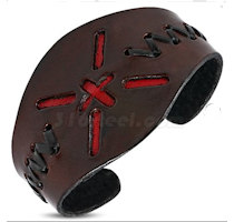 Leather Cross Cuff Bangle Bracelet Wide