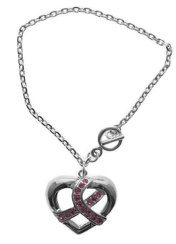 Breast Cancer Survivor Heart Ribbon Bracelet