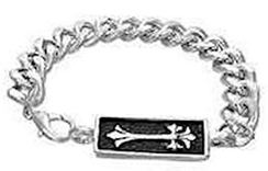 Fleur-de-lis Cross Watch-Style Stainless Steel Bracelet