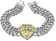 Mens Heavy Stainless Steel Fleur De Lis Cross Shield Bracelet
