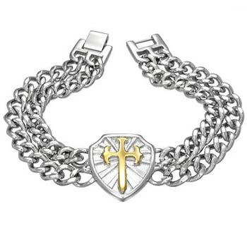 Heavy Stainless Steel Fleur De Lis Cross Shield Bracelet