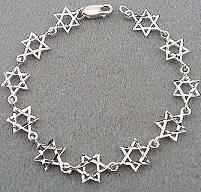 Sterling Silver - Diamond Cut Star of David Bracelet
