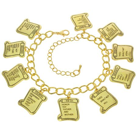 10 Commandments Gold Charm Bracelet